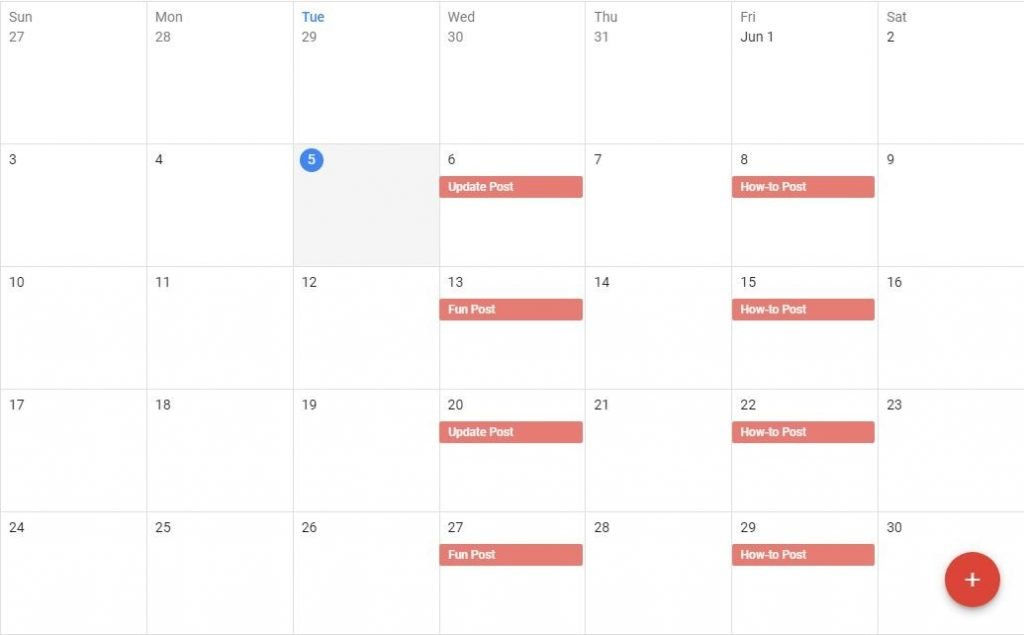 Financial blog post schedule